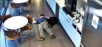 Arnaque à l'assurance : un homme filmé faisant semblant de glisser et de tomber dans une cafétéria