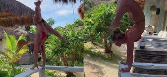 La flexibilité extrême de cette femme dans un endroit paradisiaque, cela donne des idées !