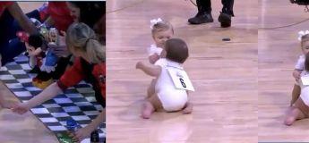 Découvrez cette course de bébés avec une fin inattendue lors d'une mi-temps d'un match de NBA