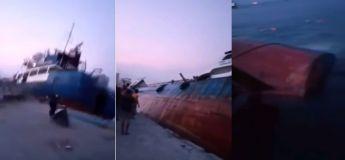 Vidéo : chavirement et naufrage d'un chalutier en Indonésie