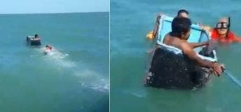 Deux pêcheurs ont été sauvés par un réfrigérateur après le naufrage d'un bateau