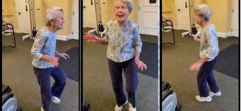 Une femme de 91 ans célèbre la fin de sa thérapie avec une danse joyeuse