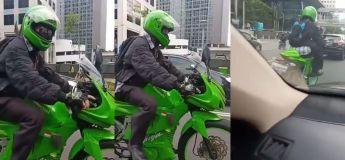 Ce motard conduit une drôle de Kawasaki, unique au monde !