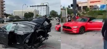 Une voiture Tesla est coupée en deux suite à un  accident avec une GTR !