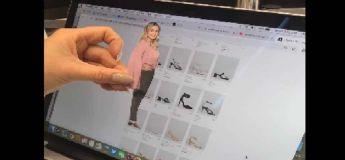 Cette femme utilise une petite découpe d'elle-même pour acheter des chaussures en ligne