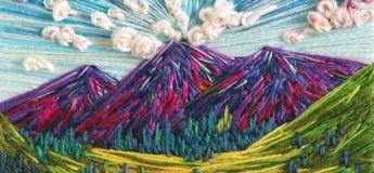 Une talentueuse artiste réalise de superbes broderies de paysage vivant faites en fil de fer