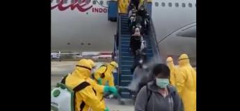#CHOC: des passagers d'un vol passent par une désinfection à la descente d'un avion suite au Coronavirus