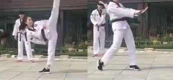 Cette femme enchaîne un ensemble de pas mélangés entre le karaté et la danse, et c'est à ne pas du tout rater !