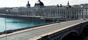 Un drone filme la ville de Lyon déserte pour des images spectaculaires