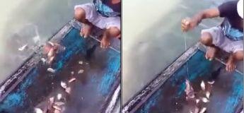 Un pêcheur utilise un appât bien efficace pour attraper des piranhas