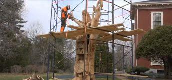 Un artiste spécialisé dans la sculpture sur bois transforme un vieux chêne dans le jardin de Stephen King en une magnifique sculpture