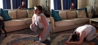 Cette maman voulait faire une séance de yoga à la maison, mais ses enfants qui n'arrêtent pas de bouger dans tous les sens autour d'elle ne lui facilitent pas la tâche !