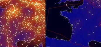 La France compte 91% de vols en moins aujourd'hui par rapport à 2019, l'animation satellite est spectaculaire !