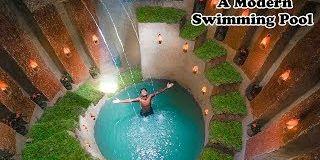 Cet homme a construit à lui seul une piscine moderne souterraine avec des matériaux traditionnels
