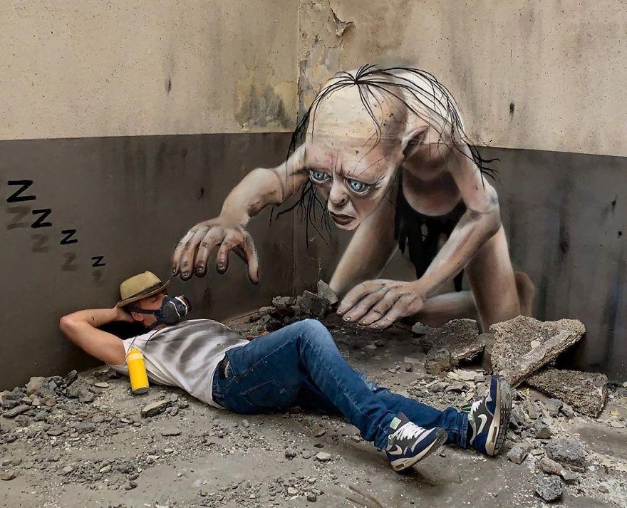 Cet artiste Français créé des peintures 3D dans la rue, elles semblent vraiment réelles