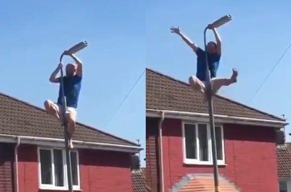 Cet homme grimpe sur un lampadaire pour exécuter une petite figure bien stylée, avant de tomber