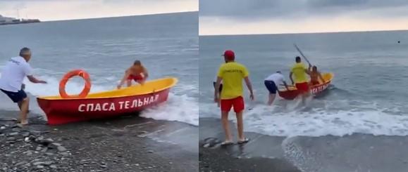 En Russie, des sauveteurs censés sauver une personne qui se noit n'arrivent même pas à embarquer sur le canot de sauvetage