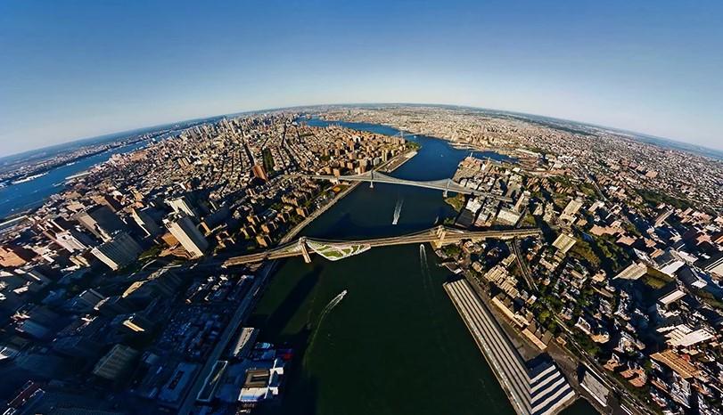 Un quartier d'habitations imaginé sur le pont de Brooklyn à New York par l'architecte Daniel Gillen