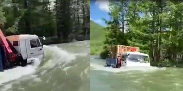 Ce camion continue d'avancer sur une route complètement inondée d'eau
