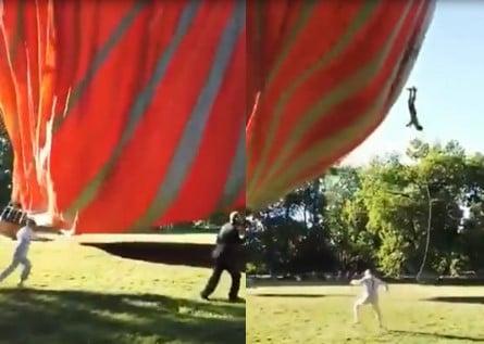 Cet homme a causé un rire général en ayant un pied attaché à une montgolfière qui décolle