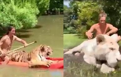 Cet homme s'amuse avec des animaux « sauvages », comme Tarzan