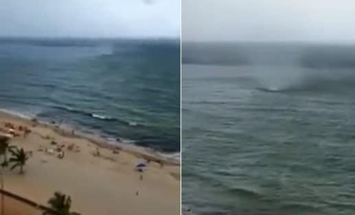 Une trombe marine frappe une plage brésilienne