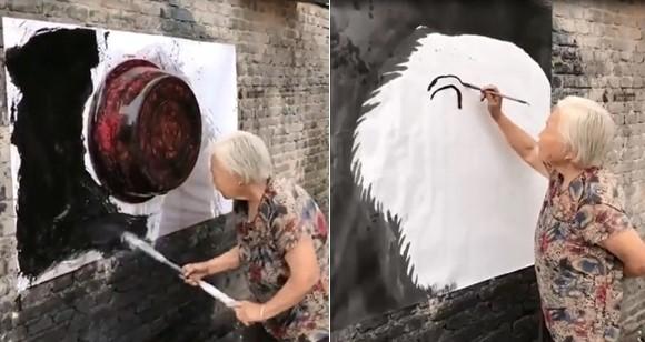 Cette talentueuse dame nous impressionne avec la magnifique peinture de tigre qu'elle réalise sur une toile accrochée au mur