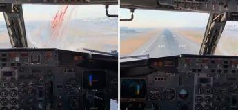 Un avion commence à amorcer un atterrissage quand il est frappé par un oiseau en pleine fenêtre du cockpit