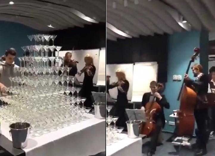 Une fontaine de champagne ratée se transforme en cascade de verre à pied, et crée plus d'ambiance à la fête !
