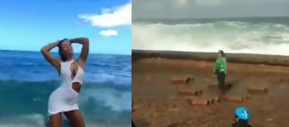 Ces personnes ont voulu prendre la super photo sur la plage, mais une vague les a surpris
