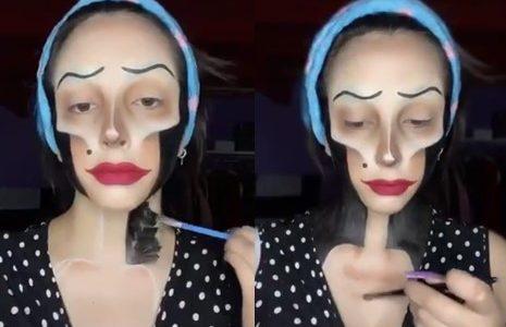 En se maquillant, cette talentueuse femme se transforme en un personnage de film