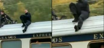 OKLM, Tom Cruise aperçu sur un train à pleine vitesse pour le tournage de Mission Impossible