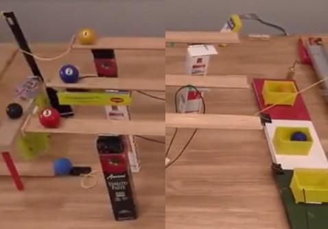 Cette réaction en chaine de la machine de Rube Goldberg est-elle ratée ou faite exprès ?
