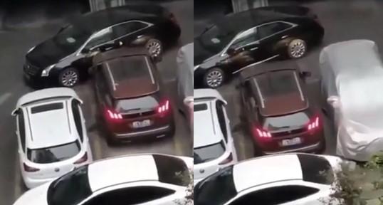 Une voiture bloquée dans un parking n'a pas lésiné sur les moyens pour se libérer